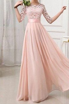 Blush Pink Patchwork Lace Pleated Half Sleeve Chiffon Maxi Bridesmaid Dress Abendkleid Abiball Kleider Schone Kleider