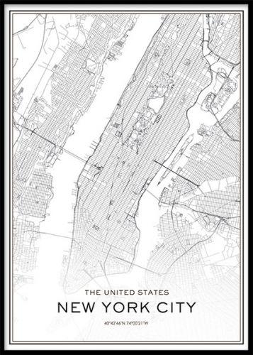 new york karta tavla Tavla, poster, affisch med New York karta. Stadskarta i svartvitt  new york karta tavla