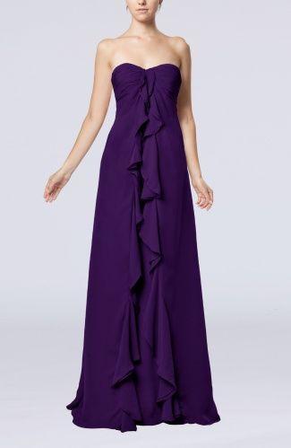 Dark Purple Plain Sweetheart Backless Chiffon Sweep Train Ruching Graduation Dresses - iFitDress.com