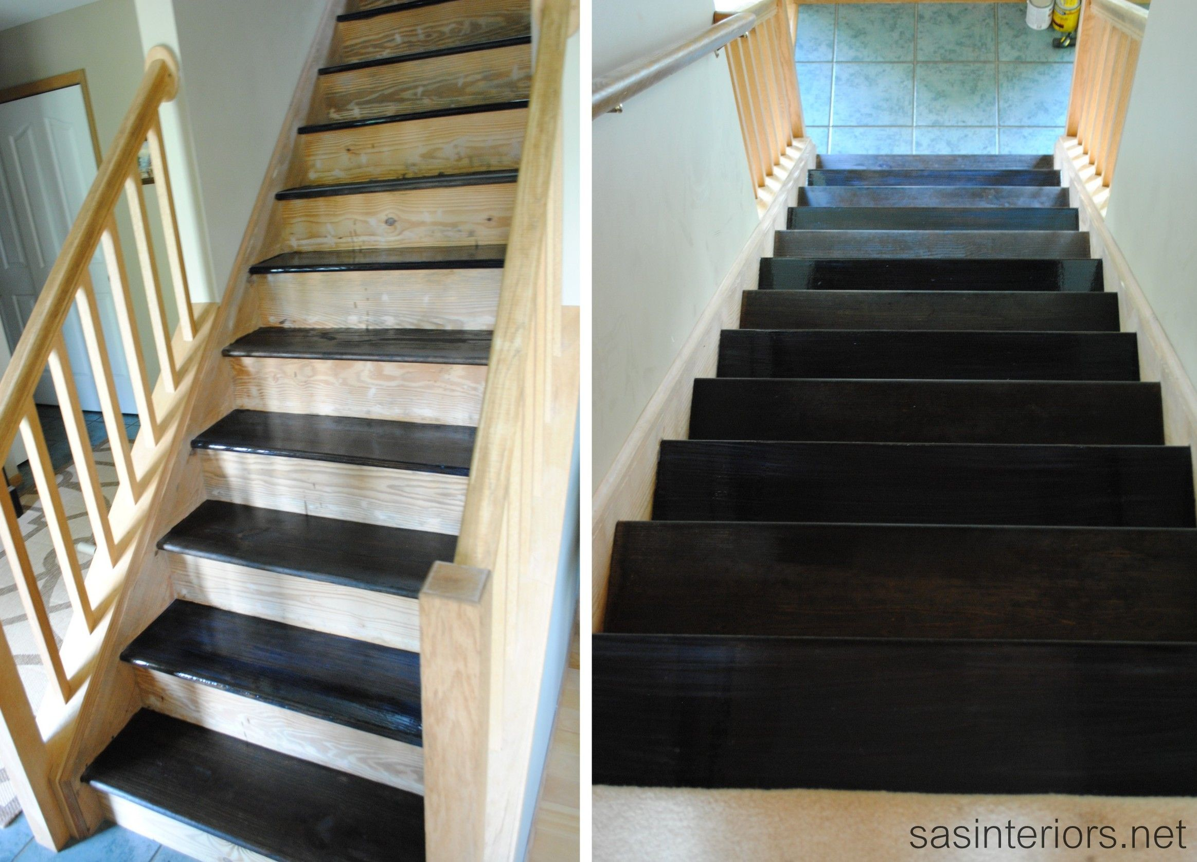 Step By Step Staining Staircase Black Makeover