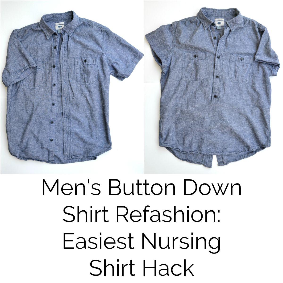 fd1c338581 Easiest Nursing Shirt Hack  Men s Button Down Shirt Refashion     DIYmaternity.com