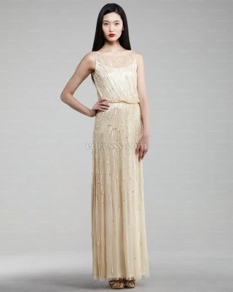 Sheath/Column Bateau Floor-length Tulle Zipper Prom Dress at Edressy ...