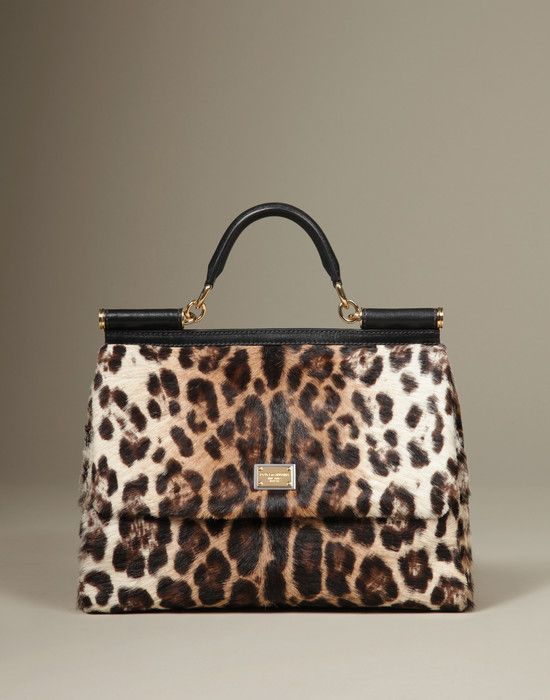 16b0aa9cde43 Leopard Sicily with Pony Skin. Medium leather bags Women - Bags Women on  Dolce Online Store United States - Dolce   Gabbana Group