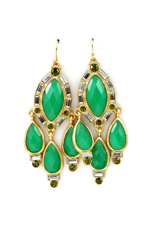 Chandelier Earrings In Kelly Green Marquise And Teardrop Faceted Cut Cabochons Set Against Lightly Carved Gold Outlined With A Shimmer Of Crystals