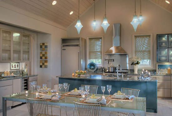 Never Thought I D Like A Blue Ish Themed Kitchen But This Is Gorgeous Those Lights Are So Pretty Kitchen Themes Metal Kitchen Cabinets Modern Kitchen