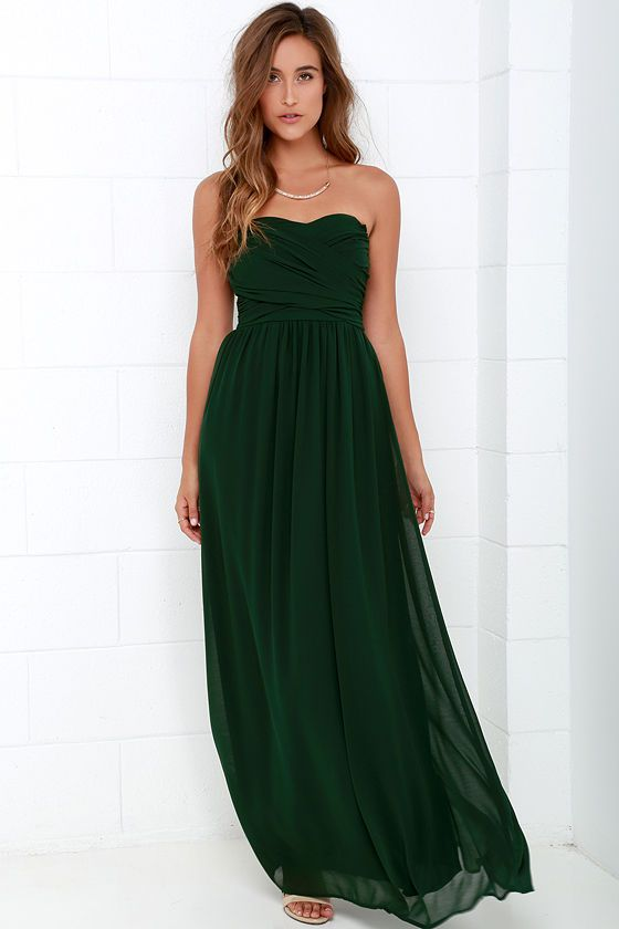 Royal Engagement Strapless Dark Green Maxi Dress | Green maxi ...