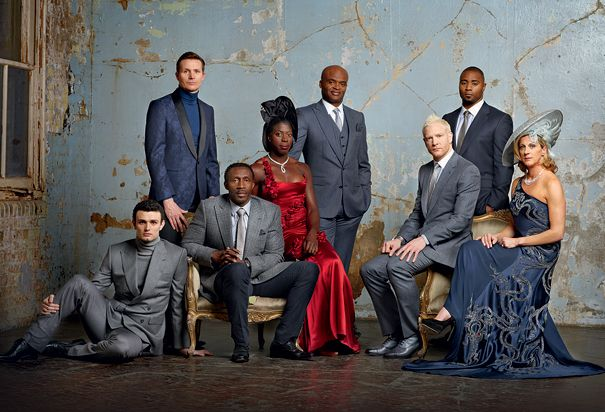 From left to right: Gianni Frankis, Roger Black, Linford Christie, Christine Ohuruogu, Kriss Akabusi, Iwan Thomas, Mark Lewis-Francis, Sally Gunnell. Taken by  Neil Gavin for High Life magazine. Find out more at www.bahighlife.com.