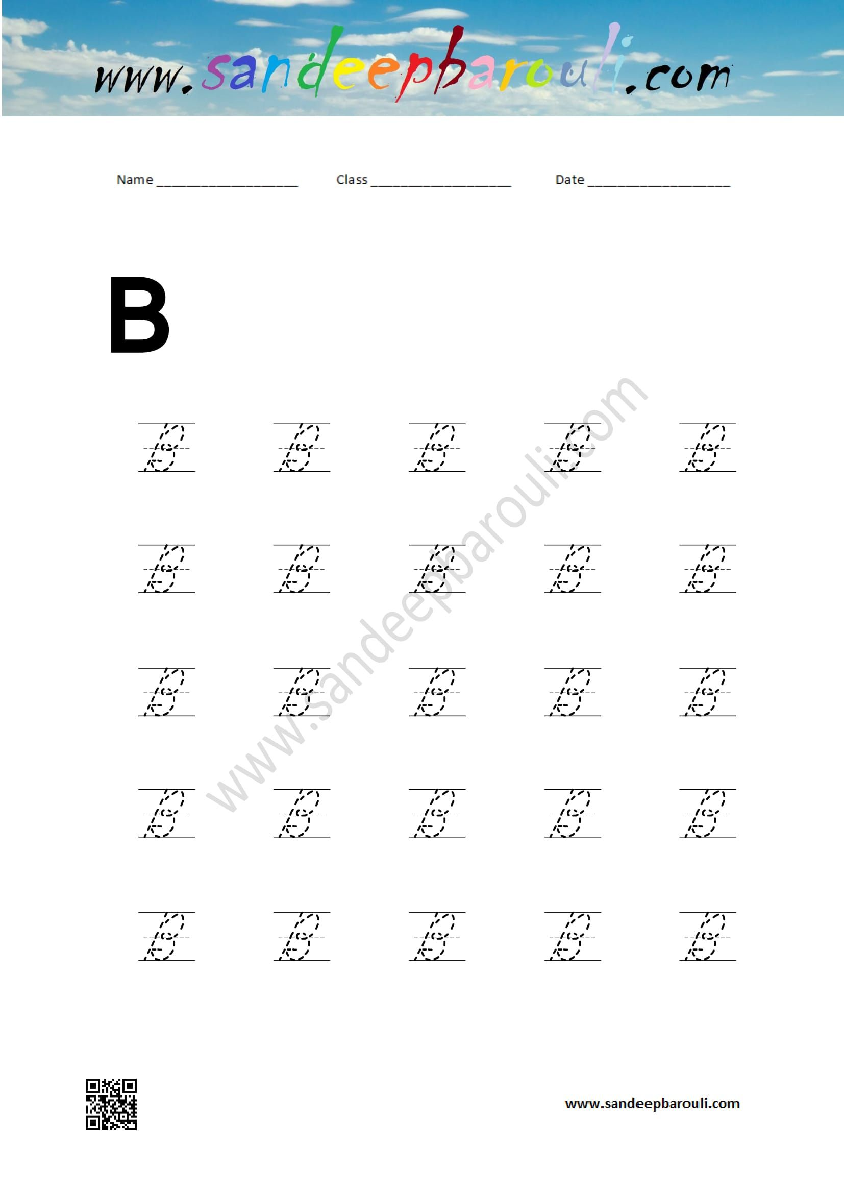Cursive Writing Worksheet For B