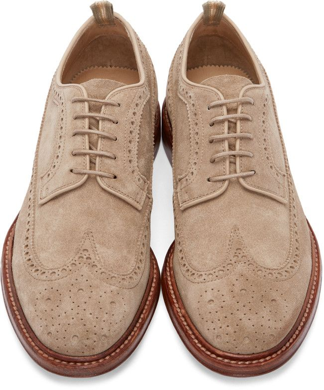Officine Creative Beige Suede Brogues Suede Shoes Men Dress Shoes Men Fashion Dress Shoes