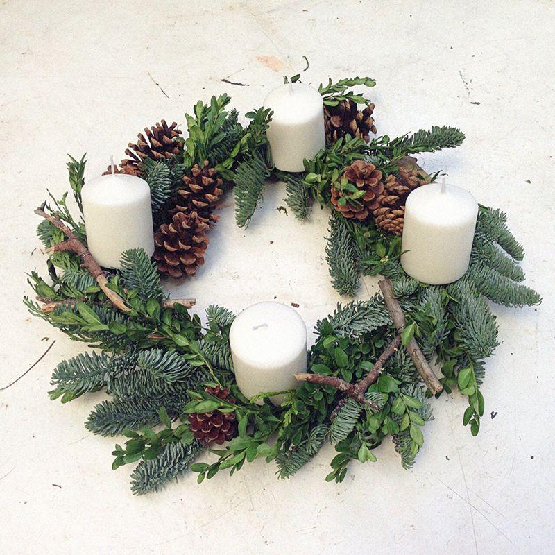 Como hacer coronas de adviento na lua dulce coronas - Decoracion navidena natural ...