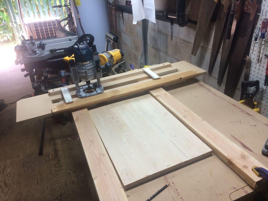 Router planer sled set up and ready for flattening