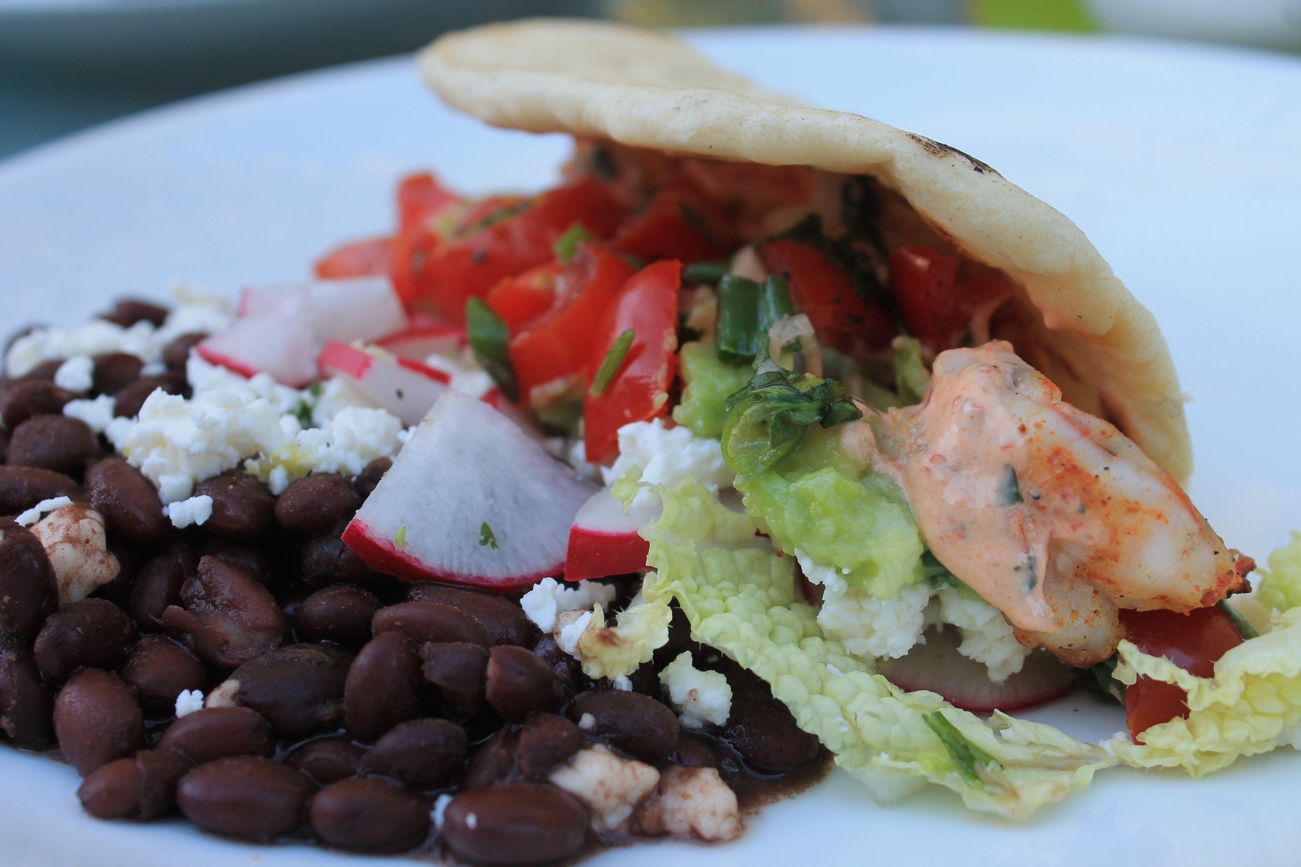 Shrimp tacos with crock pot black beans