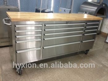 Rolling 72 Tool Box With Wood Top Stainless Steel 72 Tool Box