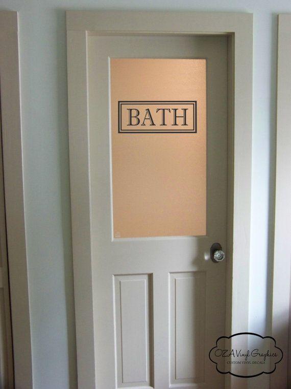 Bath vinyl decal bathroom glass door decal by ozavinylgraphics bathrooms pinterest glass doors bath and doors