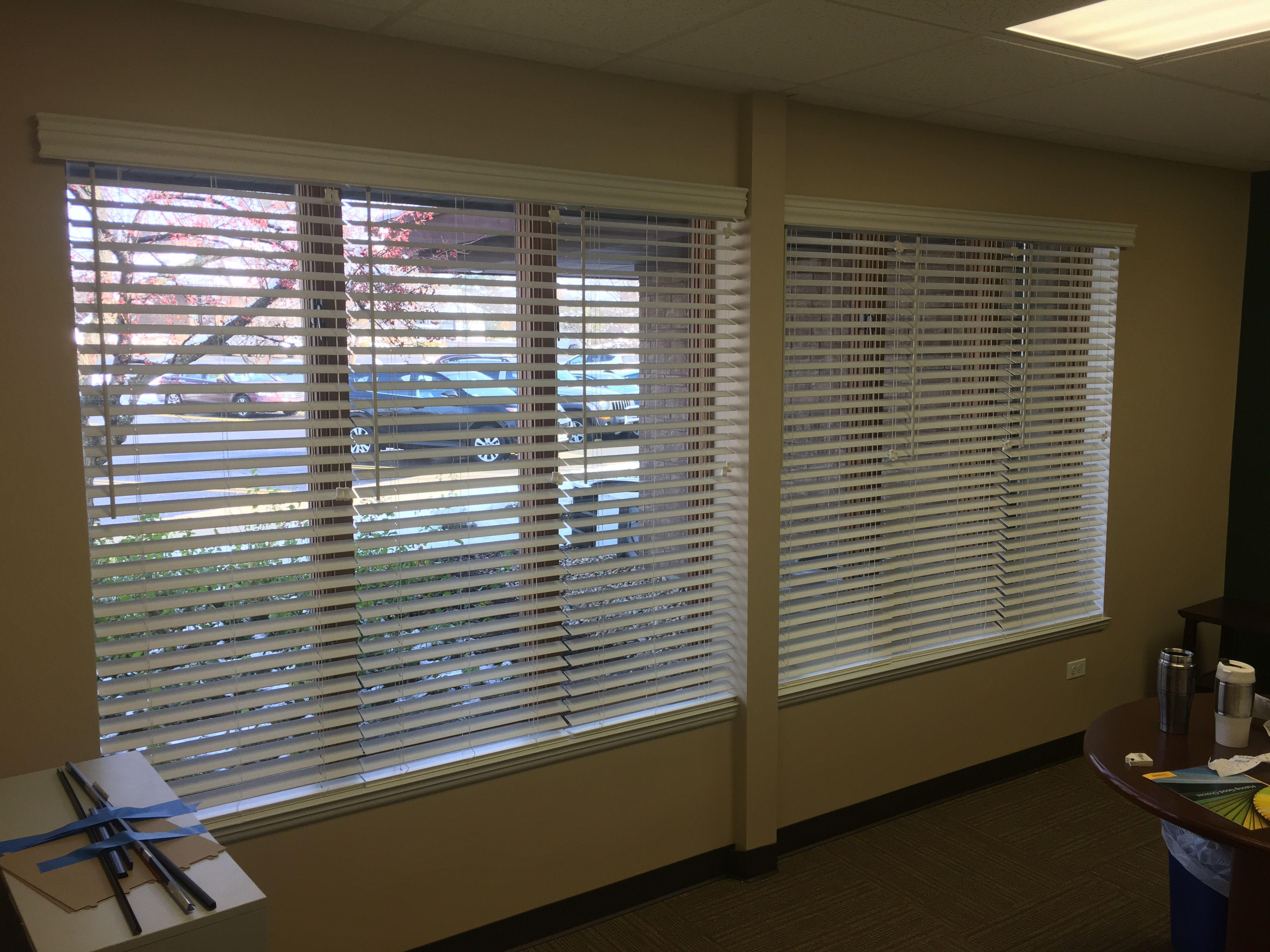 Window coverings shutters  faux wood blinds installed at edward jones  new window treatments