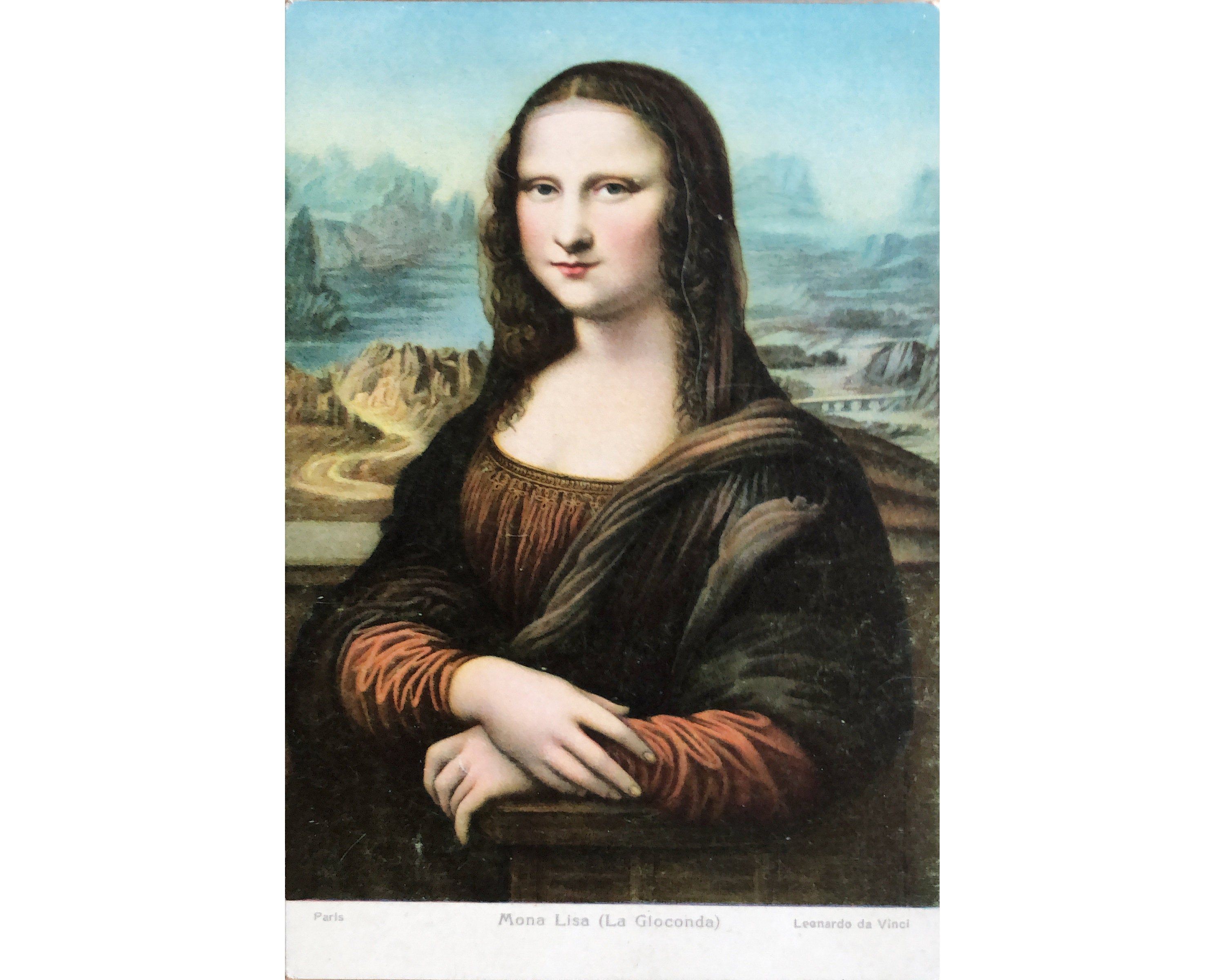 Mona Lisa Stengel Vintage Postcard La Gioconda Leonardo Da Vinci Antique Post Card Chromolithograph Mona Lisa Antique Postcard