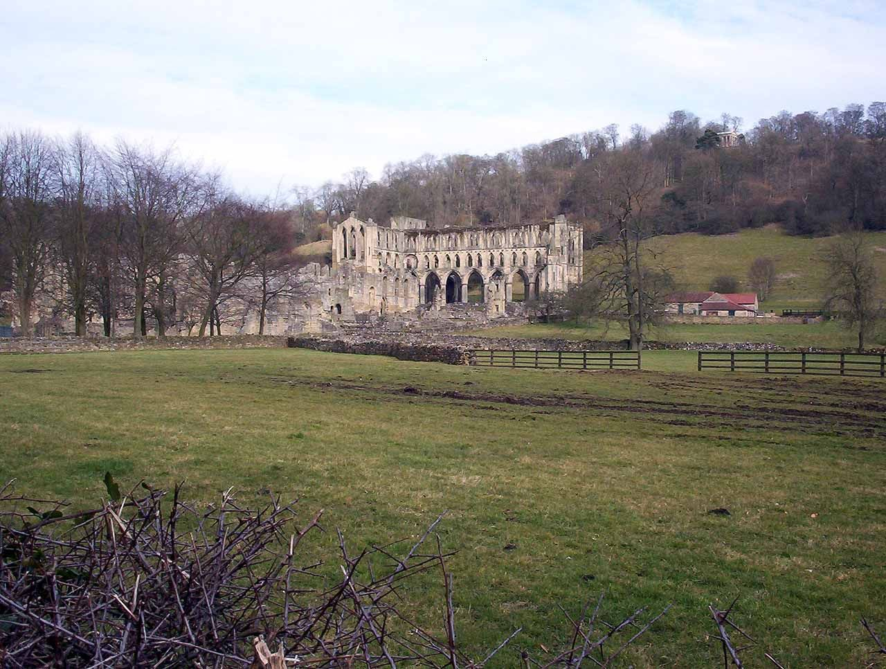 Rievaulx Abbey in North Yorkshire. Once one of the wealthiest Cistercian abbeys in England, it was dissolved  by Henry VIII in 1538.