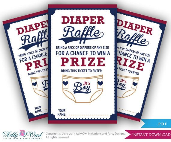 Boy Baseball Diaper Raffle Tickets Printable for Baby Boy Shower - raffle ticket