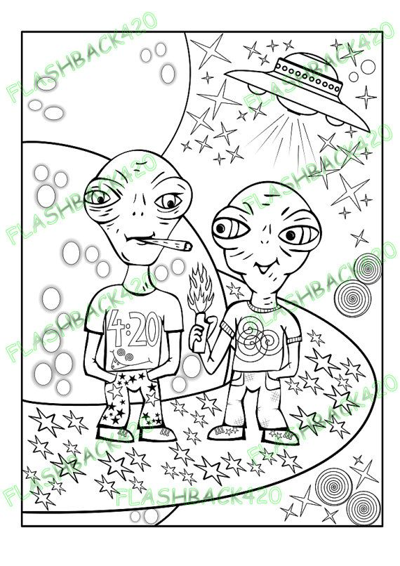 Stoner Aliens Adult Coloring Page Gift for Stoner Best Buds