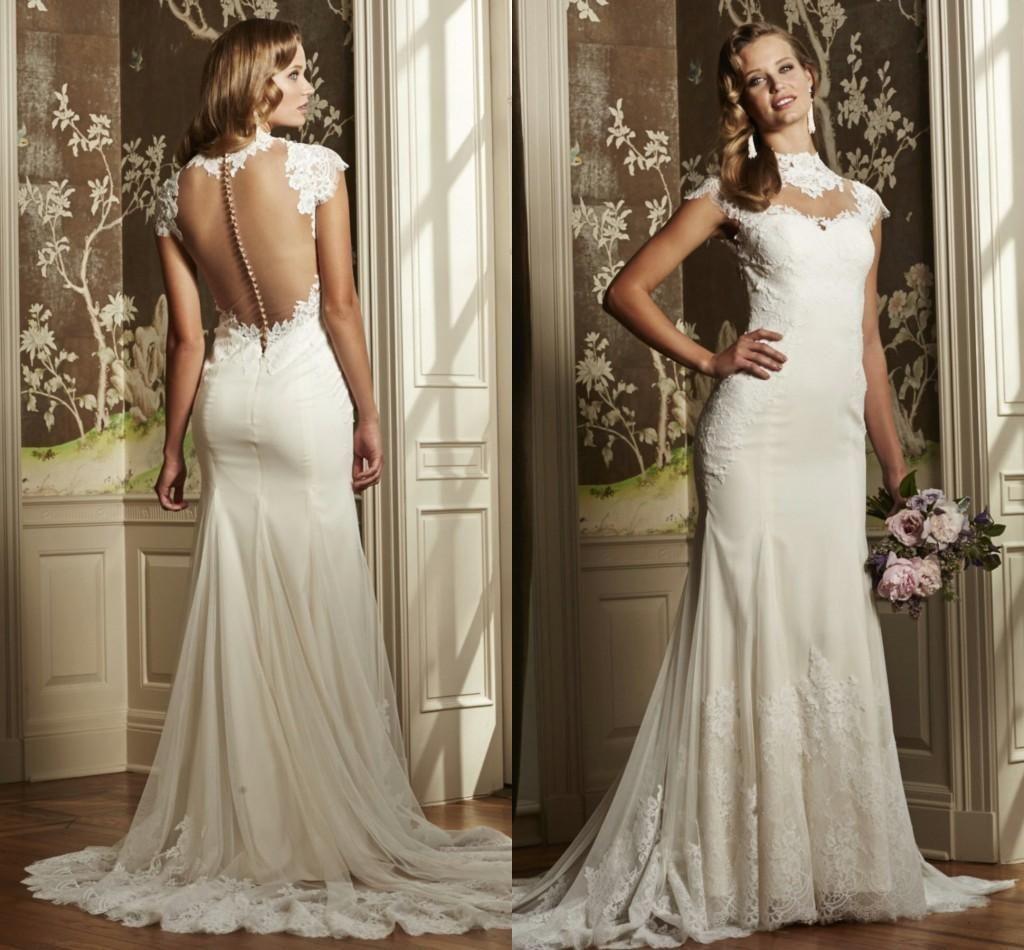 Cheap White Ivory Wedding Dresses Mermaid Lace Appliques: 2015 Mermaid Wedding Dresses High Neck Cap Sleeves White