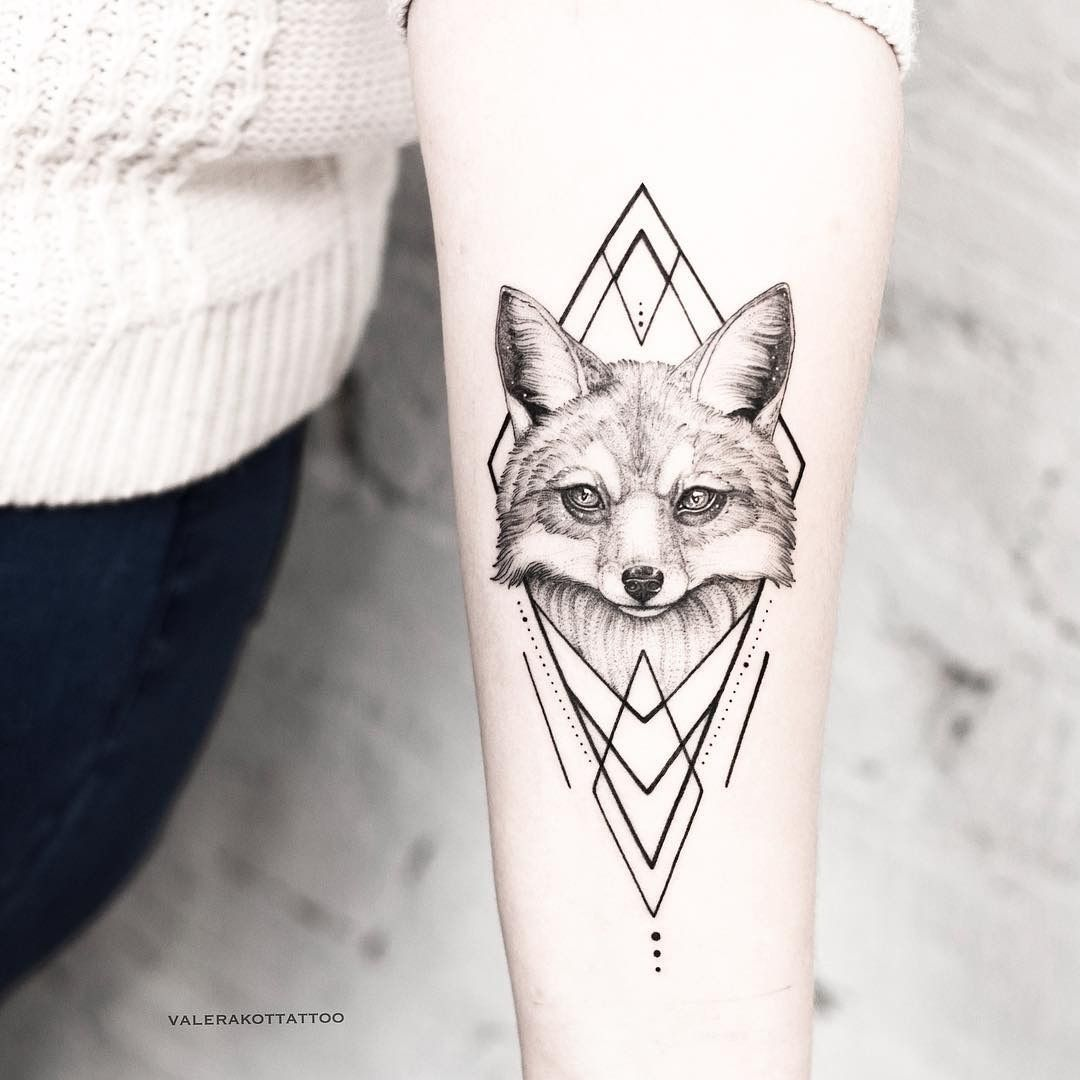 Watercolor Tattoos Fox Tattoo Geometric Hand Tattoos Fox Tattoo