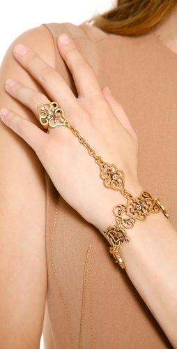 Oscar De La A Bracelet With Ring Attached Pulsera Anillo