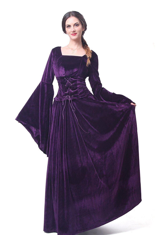 a2517e0b4f Medieval Noblewomens Rich Deep Purple Velvet Lace Up Bodice Trumpet Sleeve  Gown