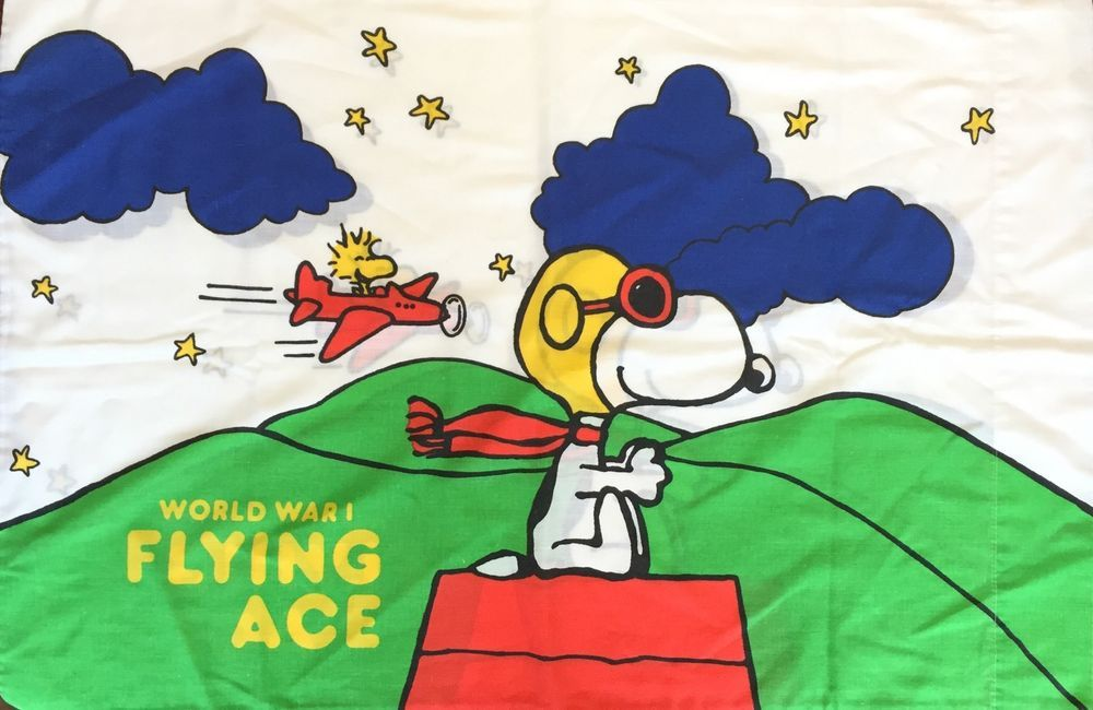 Vintage Snoopy Red Baron Peanuts Pillow Case Standard Charlie Brown