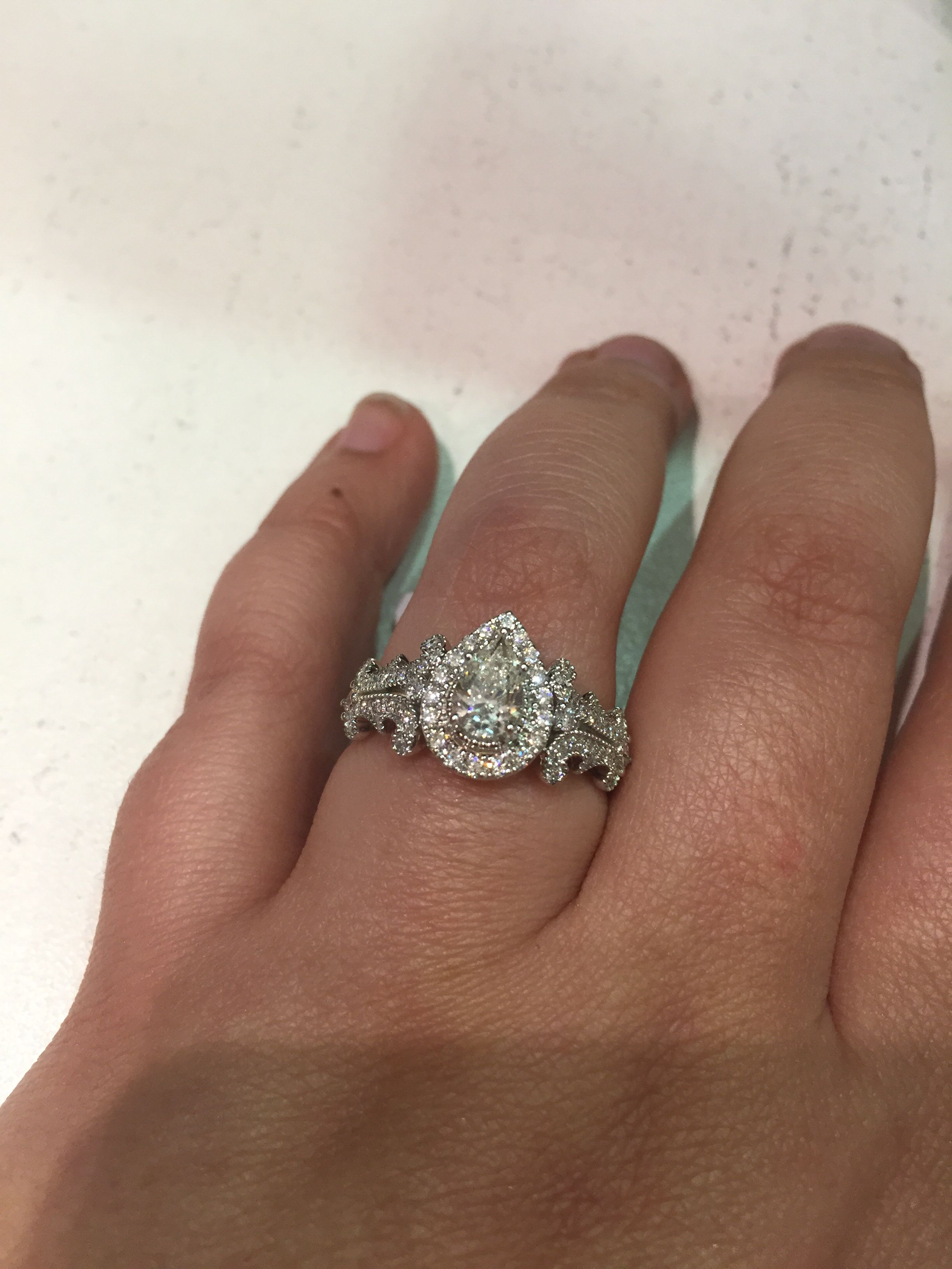 Vera Wang Vintage Style Pear Engagement Ring! I Love This So Much!