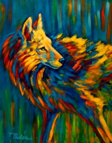 Abstract Wildlife Colorful Coyote By Theresa Paden Painting Artist