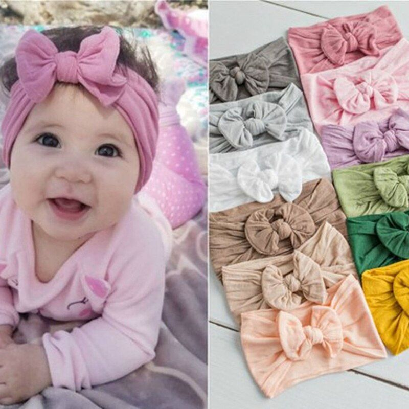 Elastic Kids Newborn Nylon Bow Headwear Flower Turban Head Wraps Baby Headband
