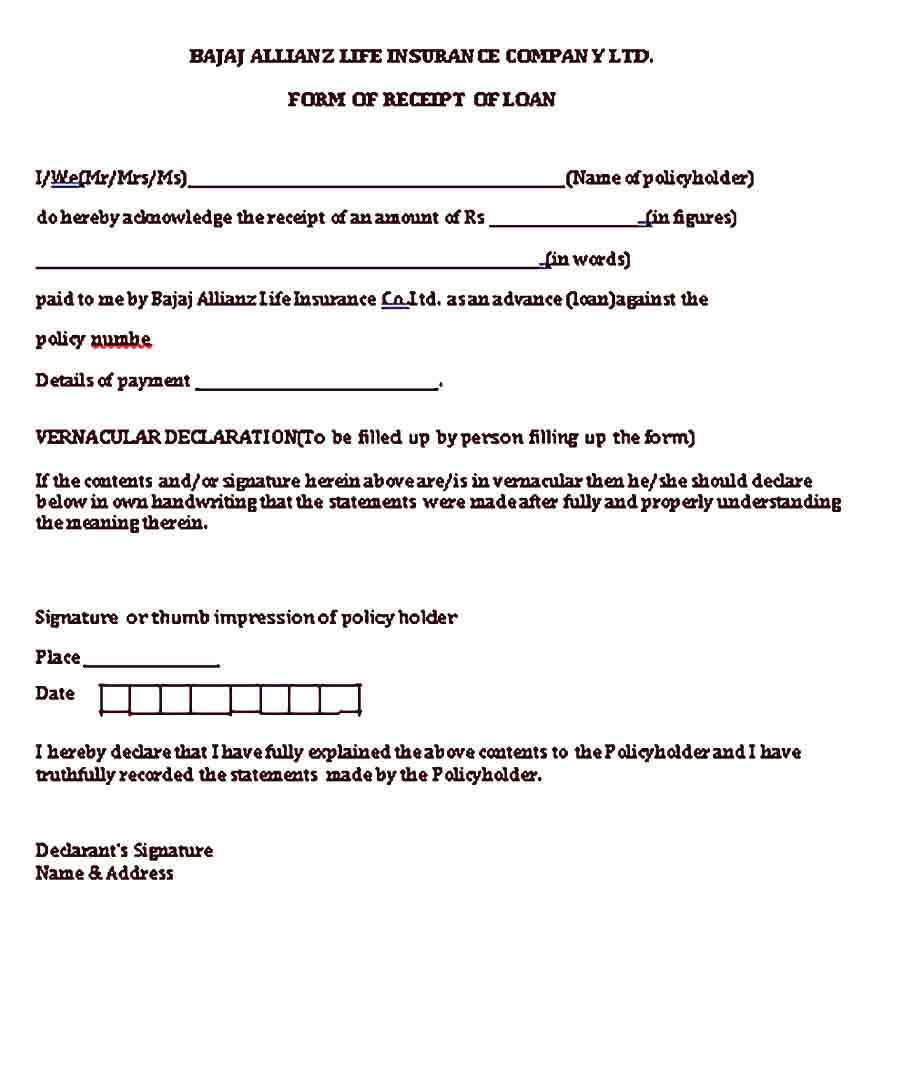 Loan Receipt Sample Template