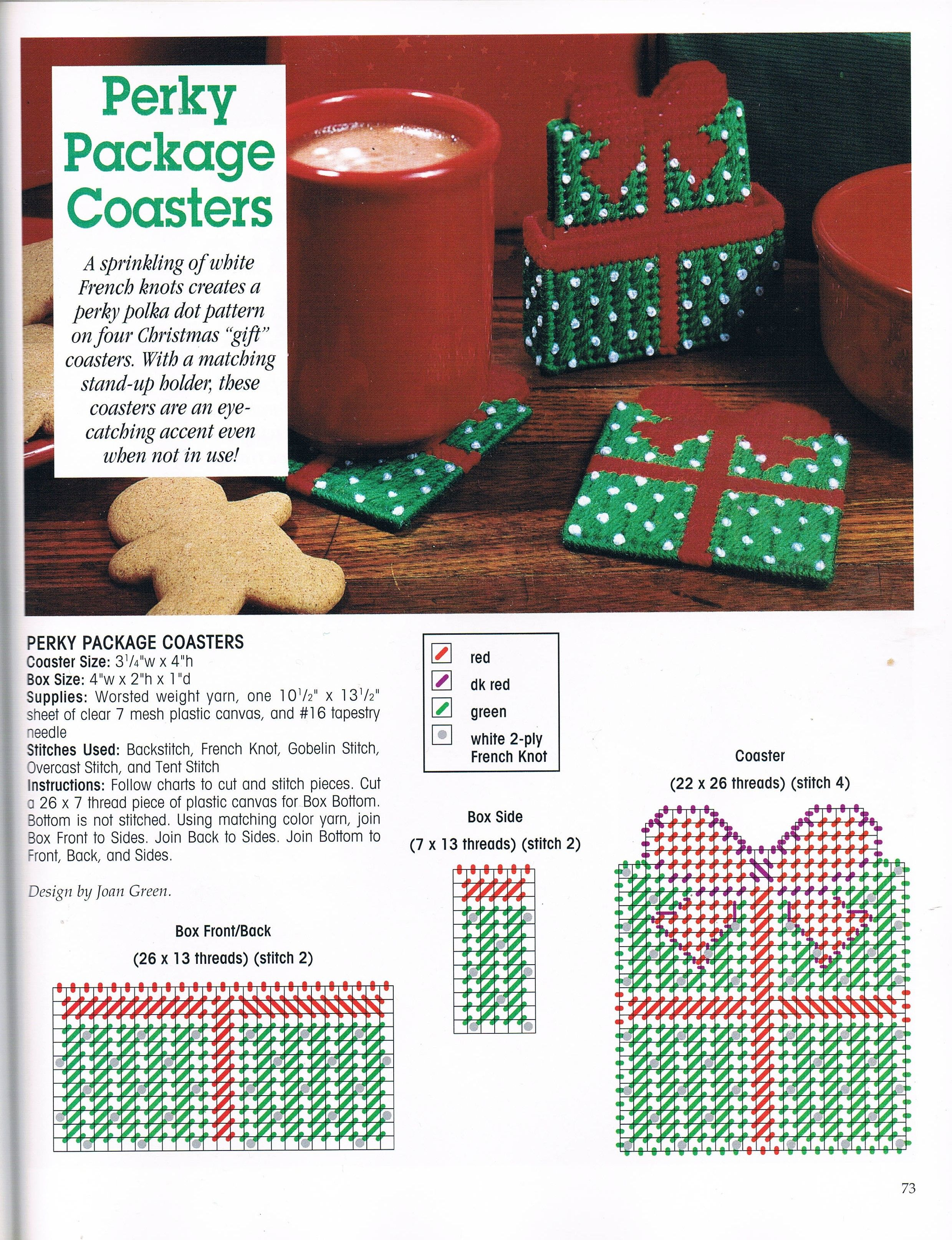 perky package coasters by joan green 1 1 from a festive christmas