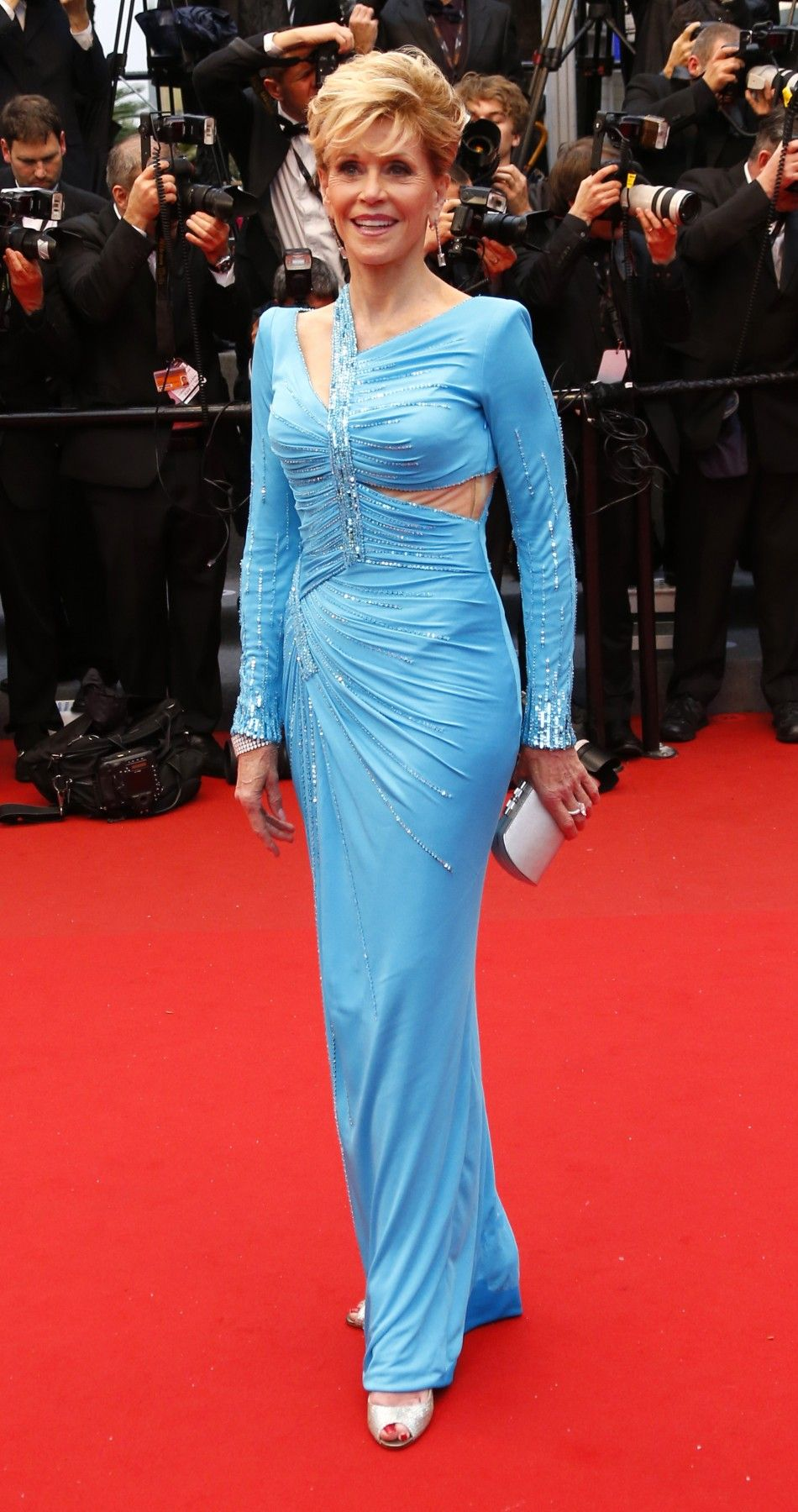 Actress JANE FONDA  poses on the red carpet as she arrives for a screening at the Cannes Film Festival -- May 2013