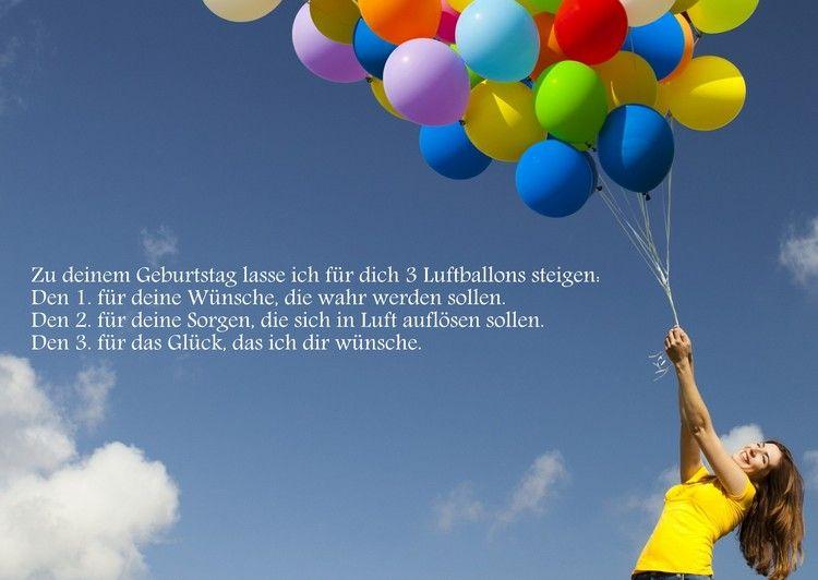 Drei Luftballons steigen lassen - Geburtstagssprüche und