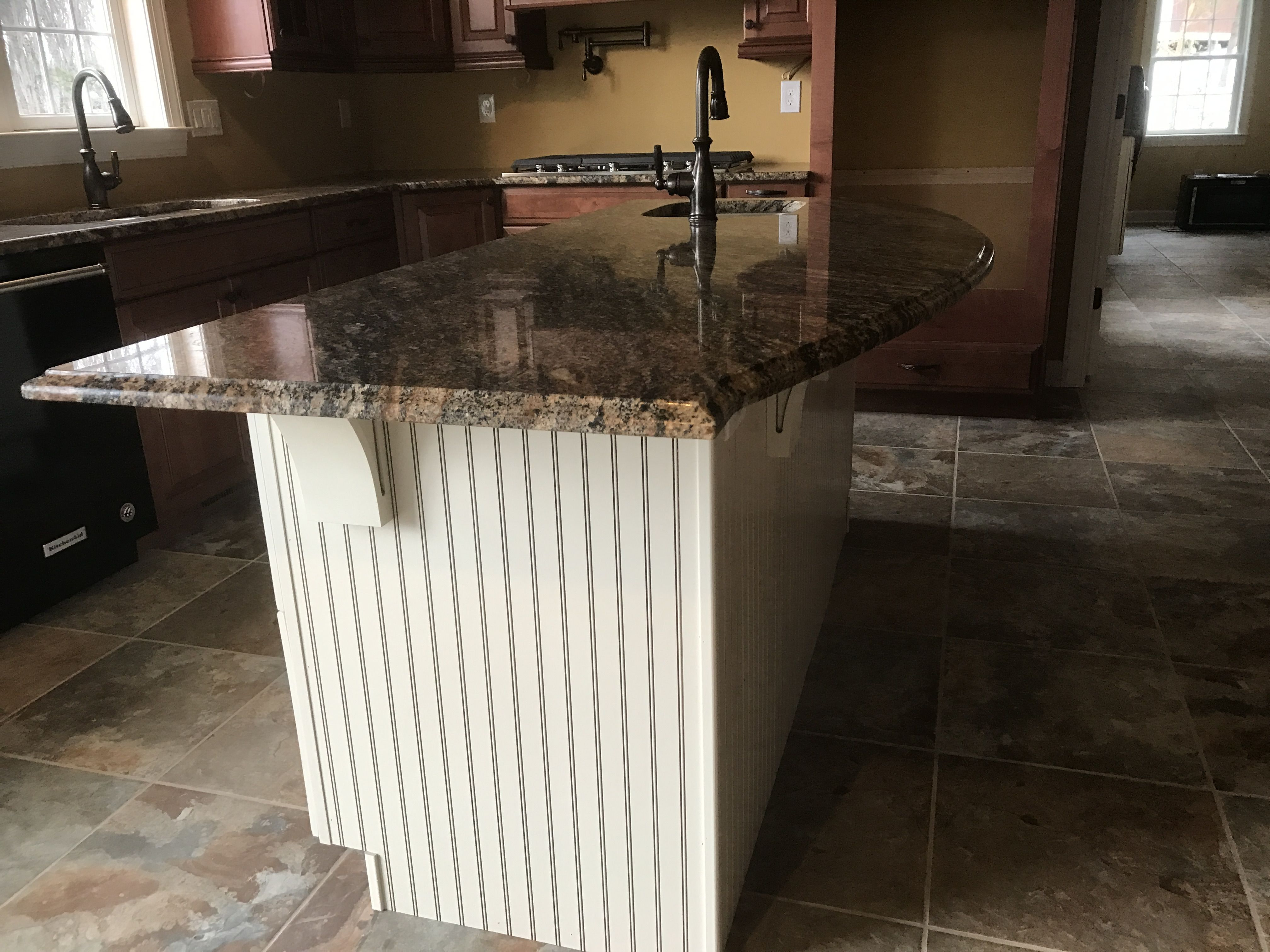 Blue barracuda granite kitchen countertop ideas - Blue Fire Granite With An Ogee Edge On The Island Exquisite