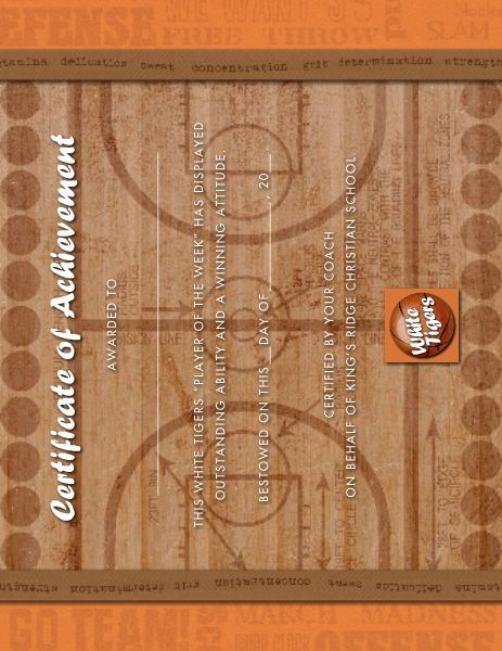Basketball Award Certificate designed by Roxanne Buchholz 85 x – Basketball Certificate Template