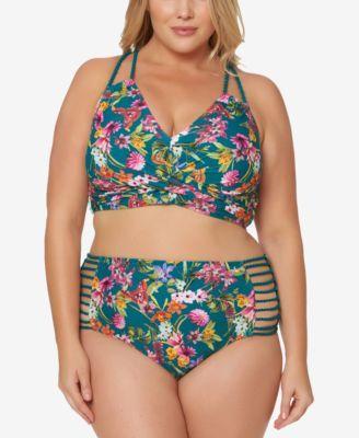 f1a27b5c039fd Jessica Simpson Plus Size Printed Strappy High-Waist Bikini Briefs - Green  3X