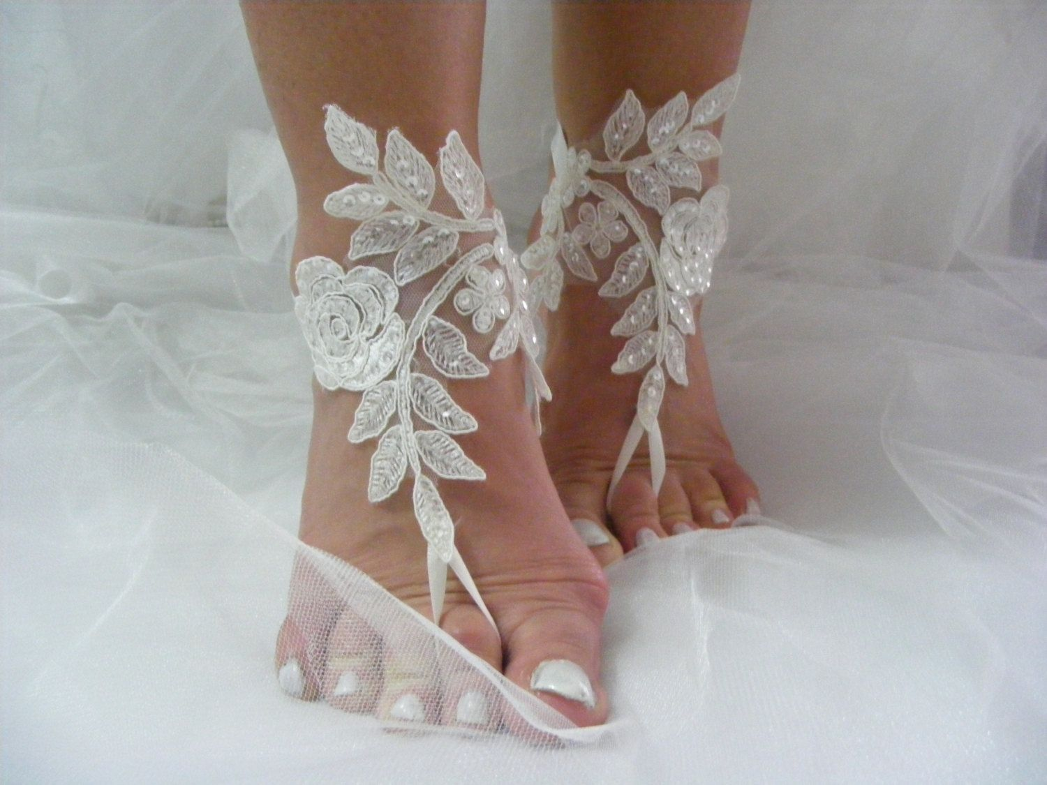 c52e455909b15 Ivory Lace Sequined Barefoot Sandals, Beach Wedding Sandals, Wedding ...