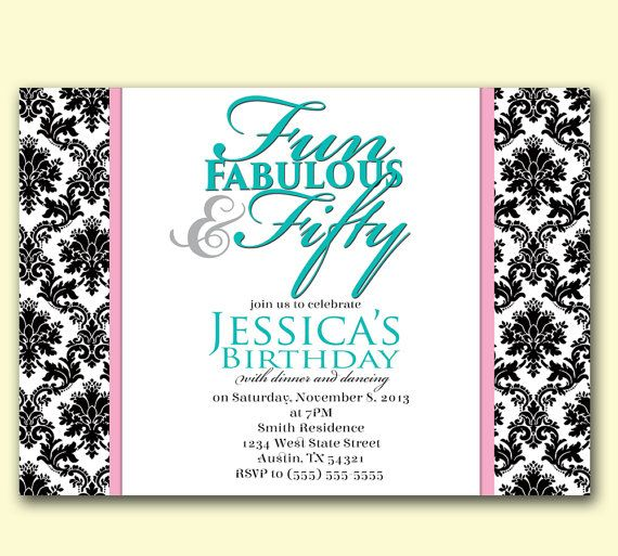 50 Fifty Fun Fabulous Tiffany Blue Damask Birthday Invitation – Tiffany Blue Birthday Invitations