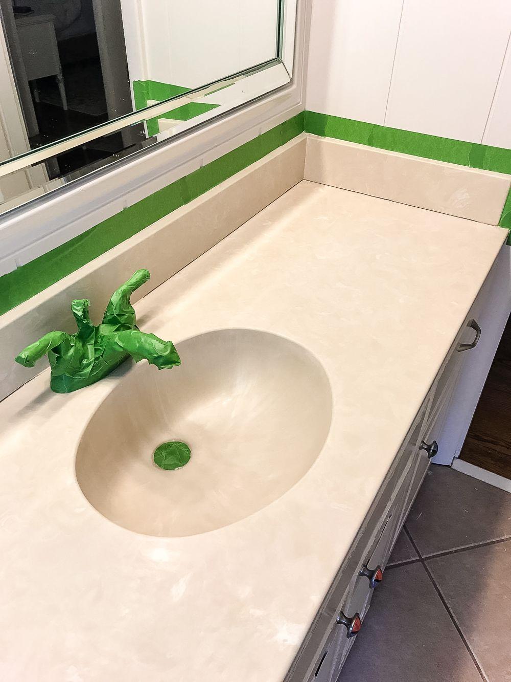 DIY Painted Bathroom Sink Countertop | blesserhouse.com - An 80s beige  cultured marble sink