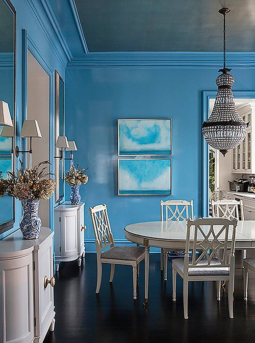 Sky Blue Dining Room With All White Dining Table Chairs