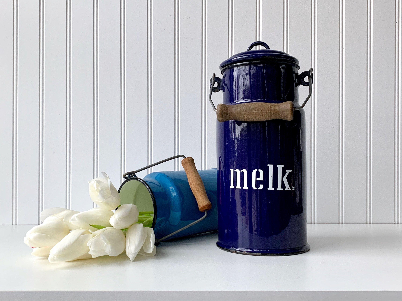 European enamel milk pail blue enamel milk can farmhouse