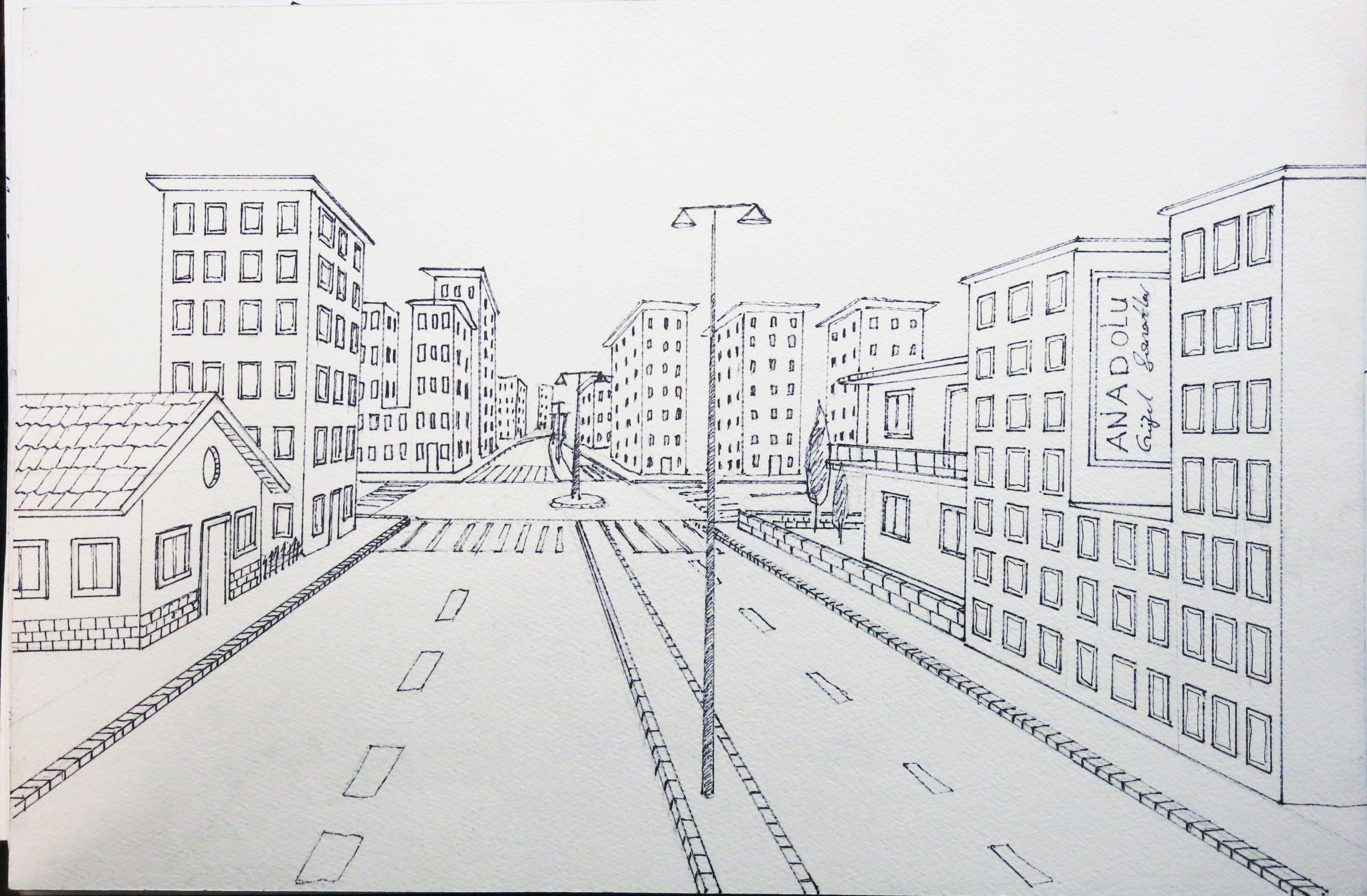 Tek Noktalı Bir Sokak çizimi Resimler 2019 Drawings Sketches