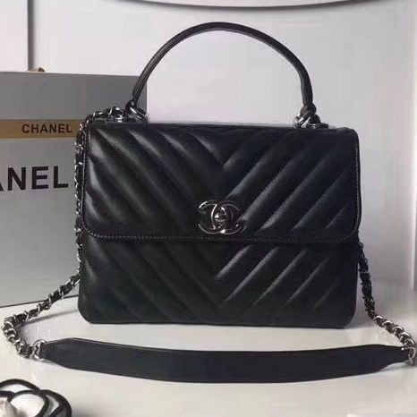 dd7fb13a130a Chanel Trendy CC Chevron Lambskin Small Flap Bag with Top Handle A92236  Black S/S
