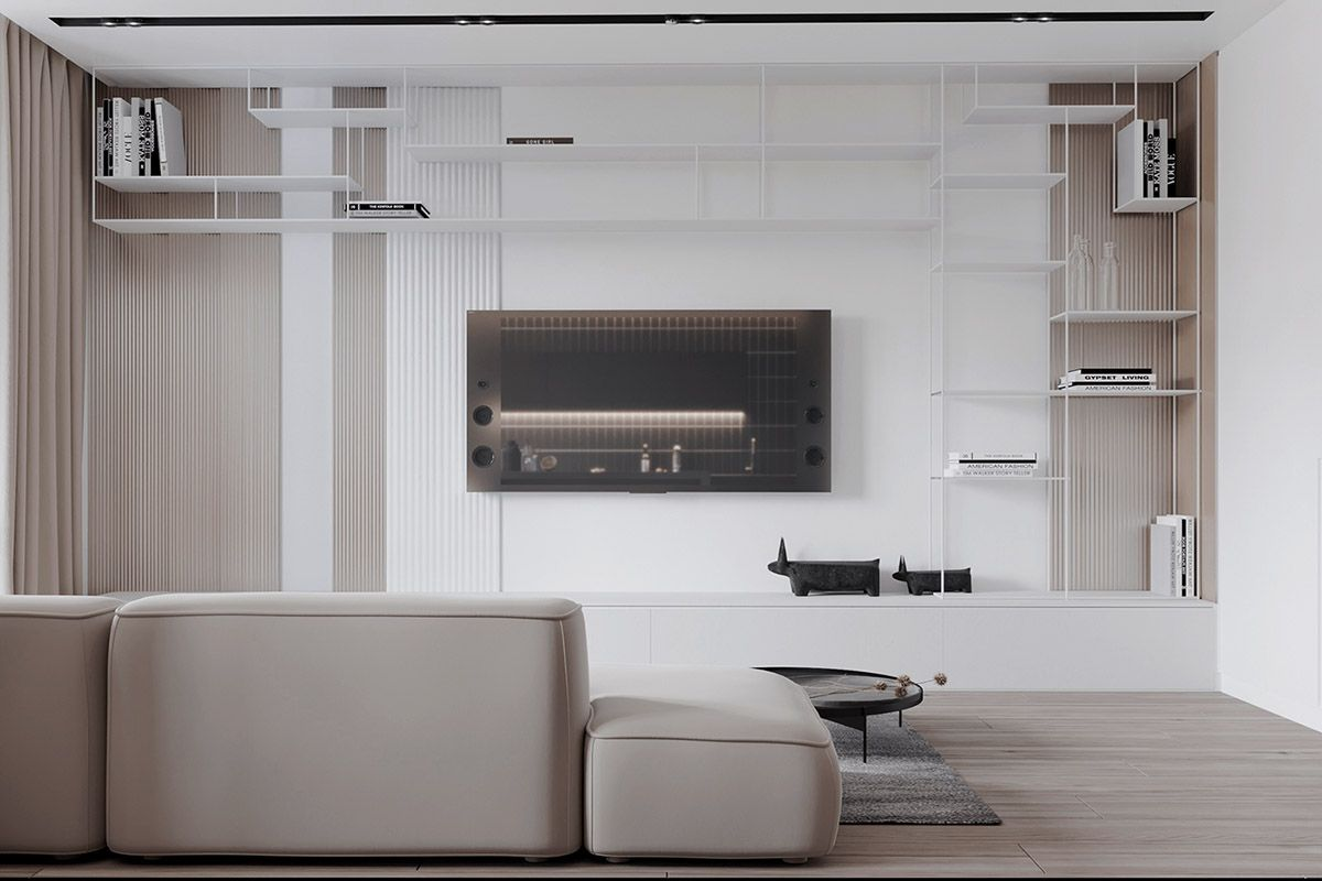 Black white & beige apartment for the fashionista living room