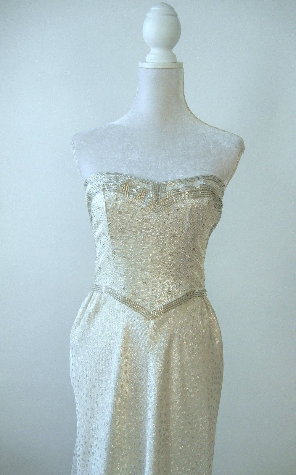 S white u silver beaded strapless bustle gown wedding bridal