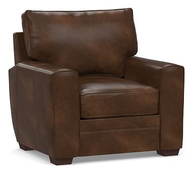 Pearce Square Arm Leather Recliner Down Blend Wrapped