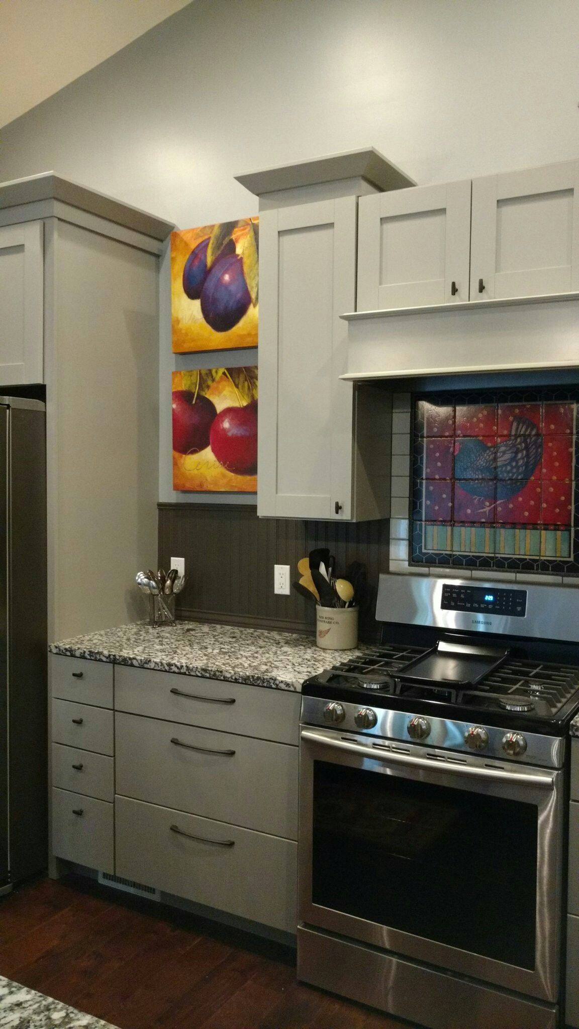 Gray kitchen cabinets, beadboard backsplash, rooster tile ...