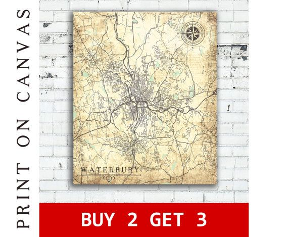 WATERBURY CT Canvas Print Connecticut Vintage map Waterbury Ct